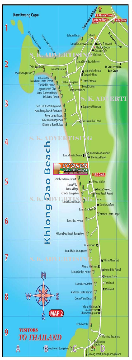Khlong Dao Beach Map