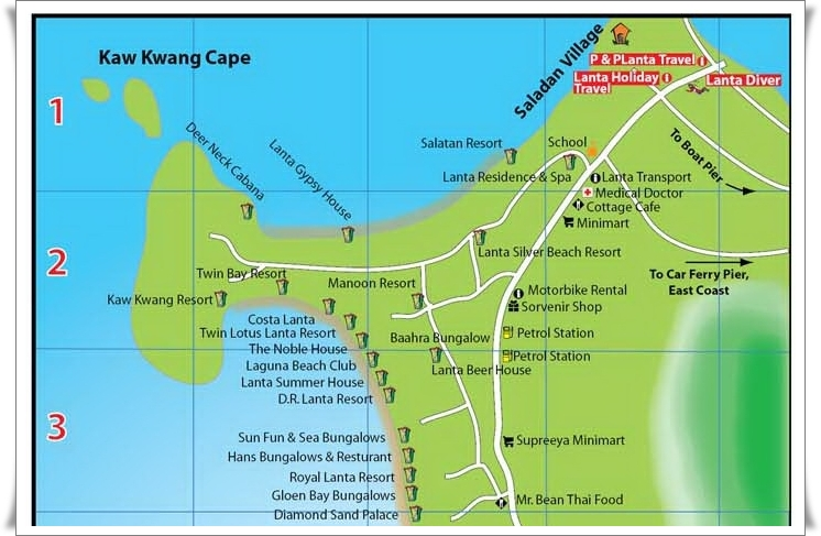 Kaw Kwang Beach Map