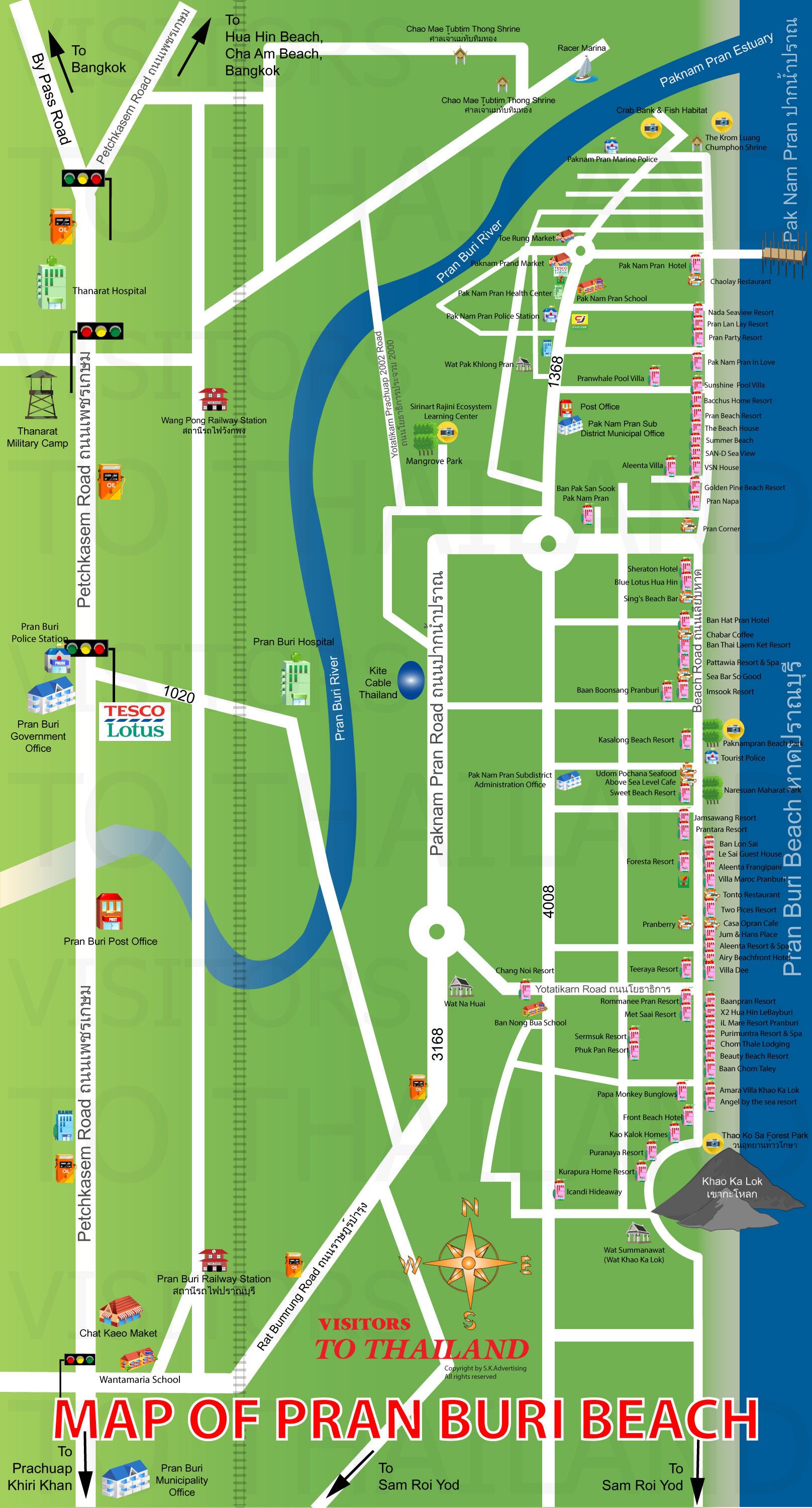 Pranburi Beach Map