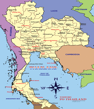 The Kingdom of Thailand Map
